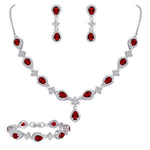 SHIP BY USPS:  Women's Silver-tone Cubic Zirconia Teardrop Flower Bridal V-Necklace Set Tennis Bracelet Dangle Earrings