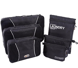 Packing Cubes 6 in 1 Travel Luggage Packing Organizers Accessories with Laundry Compression Pouches Organizer Bags 6 Set (Black)
