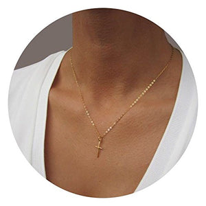 SHIP BY USPS Befettly Womens Simple Bar Triangle 14k Gold Filled Polished Cross Pendant Feather Necklace With Imitation Pearls Synthetic Sweater Chain