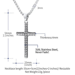 Vintage Cross Pendant Necklace, FaithHeart Classic Grid Pattern Faith Charm Christian Jewelry (3 Colors)