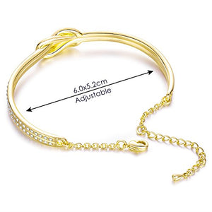 NINAMAID Simple Knot Design Infinity Symbol Oval Shaped Bangle Bracelet Gold Plated Women Jewelry Clear Crystals