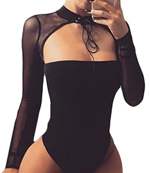 Women Sexy Choker Bandage Strapless Long Sleeve Mesh Bodysuit Party Clubwear