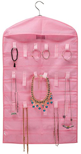 [Pack of 2] MISSLO Pink Jewelry Hanging Non-woven Organizer Holder 32 Pockets 18 Hook and Loops