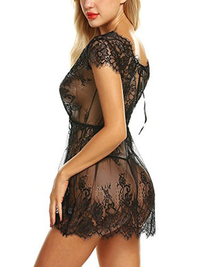Women Sexy Lingerie Eyelash Lace Chemise Babydoll Nightwear Set Sleepwear Sheer Nightgown