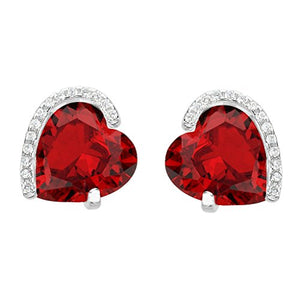 SHIP BY USPS: EleQueen 925 Sterling Silver Full Cubic Zirconia Forever Love Heart Bridal Stud Earrings