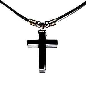 SHIP BY USPS: Accents Kingdom Men's Stylish Black Hematite Cross Pendant Leather Cord Necklace