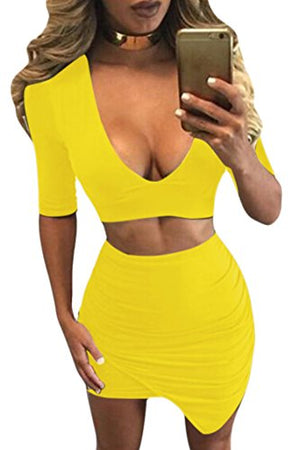 Women's V Neck Crop Top Midi Skirt Pleated Party Bodycon Dress