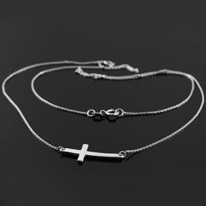 SHIP BY USPS 925 Sterling Silver Sideways Cross Curved Cute Necklace