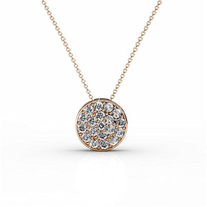 "Cate & Chloe Nelly ""Valor"" White Gold Plated Pave Stone Necklace with Swarovski Crystals, Modern Trendy Beautiful Round Cut Diamond Cluster Necklace, Wedding Fashion Statement Necklaces - MSRP $145"