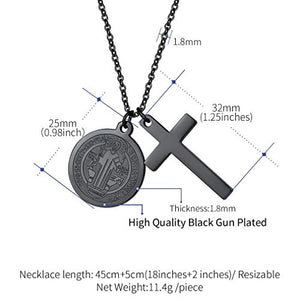 FaithHeart Saint Benedict of Nursia Cross Charm Pendant Necklace, 18K Gold Plated/Stainless Steel/Black Color, 55 cm Chain