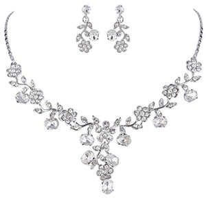 SHIP BY USPS: EVER FAITH Flower Leaf Necklace Earrings Set Austrian Crystal