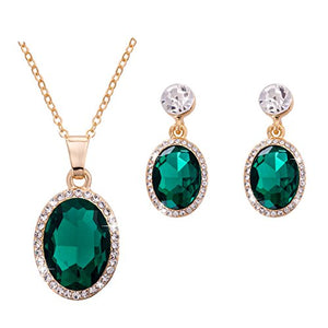 SHIP BY USPS: Omnichic Women Fashionable Oval Emerald Gemstone Pendant Necklace Earring Set