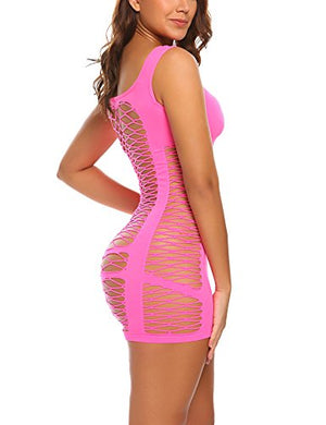 Women's Chemise Lingerie Fishnet Babydoll Sleepwear Mesh Dress