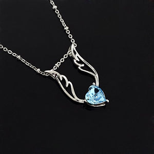 SHIP BY USPS: Le Premium Angel Wing Heart Crystal Pendant Necklace Heart Shaped SWAROVSKI Aquamarine Blue Crystal