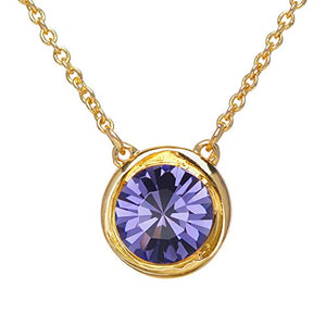"SWEETV Round Swarovski Crystal Birthstone Necklace - 18K Gold Plated Chains Jewelry Gift for Women Girls, 18""+2"""