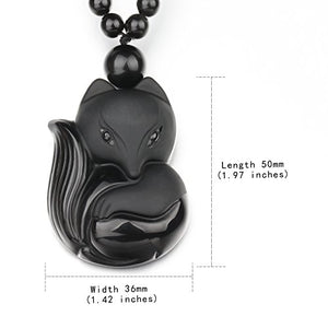 SHIP BY USPS: Black Obsidian Jewelry Pendant Amulet Gemstone Choker Lucky Fox Necklace For Women