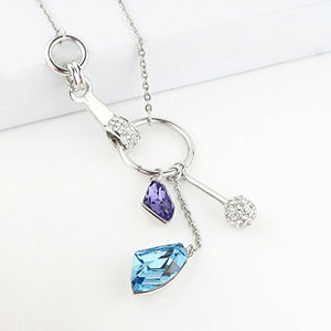 SHIP BY USPS: Double Glacier Necklace MADE WITH SWAROVSKI ELEMENTS Aquamarine Blue and Tanzanite Purple Crystals