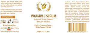 Serum for face - VITAMIN C SERUM WITH HYALURONIC ACID AND VITAMIN E - Anti wrinkle lotion - 1 bottle