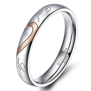 TIGRADE Men,Women's Real Love Heart Stainless Steel Band Ring Valentine Love Couples Wedding Engagement Promise