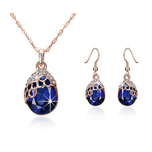 "SHIP BY USPS: ""Teardrop of a Mermaid"" Rose Gold-plated Sapphire Pendant Necklace & Earrings -Mysterious Blue Ocean Story"