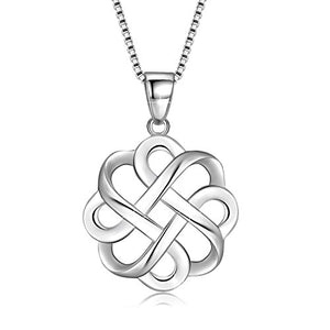 SHIP BY USPS: JUFU 925 Sterling Silver Good Luck Polished Celtic Knot Cross Pendant Necklace For Womens