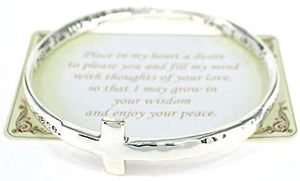 SHIP BY USPS Inspirational Hammered Cross Engraved Bracelet with a Prayer Card by Jewelry Nexus