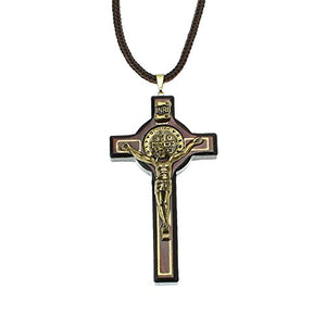 SHIP BY USPS Intercession Wood Cross Crucifix on Cord - Made in Brazil
