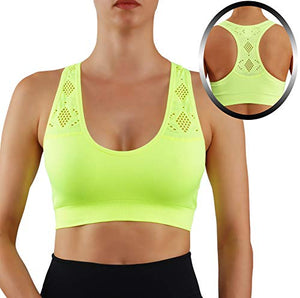 ROUGHRIVER Women's Yoga Top Sports Bra Removable Pads Breathable Race Back