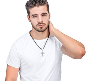 SHIP BY USPS: Jstyle Stainless Steel Cross Necklace Pendant for Men Byzantine Chain Necklace Boys 5mm 22-30 Inch