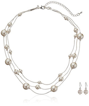 SHIP BY USPS: Colored Simulated Pearl Illusion Chain Earrings and Necklace Set