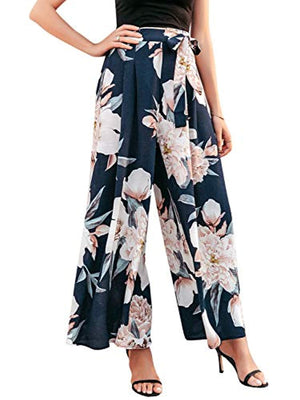 Women's Boho High Waist Wide Leg Pants Floral Print Summer Beach Pants