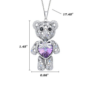 SHIP BY USPS:  Women's Silver-tone Love Heart Bear Pendant Necklace Adorned with Swarovski Crystals