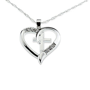SHIP BY USPS: Silver Christian Cross & Heart Pendant [I Love Jesus] CZ Necklace -- Amazing Mothers Day, Easter or Christmas Gift for Girls Teens & Women