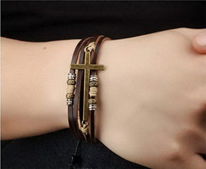 SHIP BY USPS Feraco Jewelry Vintage Brown Gold Alloy Leather Bracelet Cross Religious Christian Multi Rope Wrap Bangle Adjustable