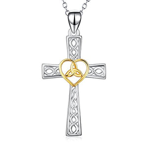 SHIP BY USPS: YFN Women Religious Jewelry 925 Sterling Silver 24k Polished Heart Eternal Celtic Knot Cross Pendant Necklace