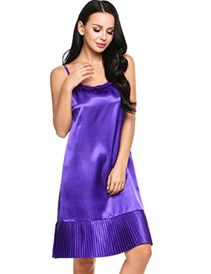 Women's Satin Lace Sleepwear Sexy Lingerie Chemise Nightgown
