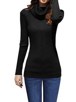 v28 Women Stretchable Cowl Neck Knit Long Sleeve Slim Fit Bodycon Sweater