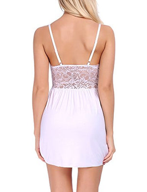 Women Lace Lingerie Sleepwear V Neck Full Slip Babydoll Nightgowns Sexy Sleep Dress