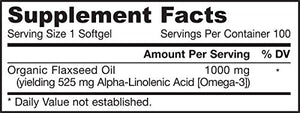SHIP BY USPS: Jarrow Formulas Flaxseed Oil, Vegetarian Source of Omega-3, 1000mg, 100 Softgels