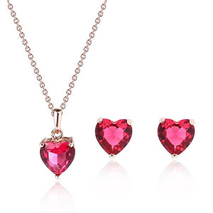 SHIP BY USPS: KUREAS Women Fasion Crystal Heart Necklace and Earrings Jewelry Set for Party