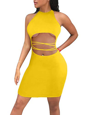 Women's Sexy Cut Out Bodycon Criss Cross Party Mini Dress