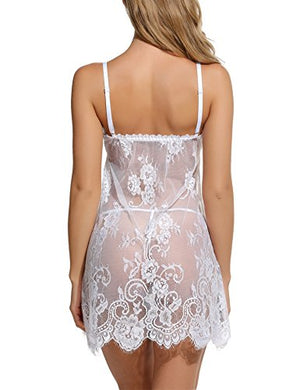 Women's Lace Pajamas Floral Babydoll Nightgown with G-String