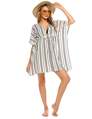 Kimono Cover Up Women Swim Coverup Oversized Striped Beachwear