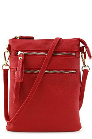 Multi Zipper Pocket Wristlet Crossbody Bag