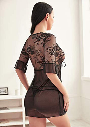 Lingerie for Women Lace Babydoll Chemise Negligee Deep V Neck Sleepwear Set
