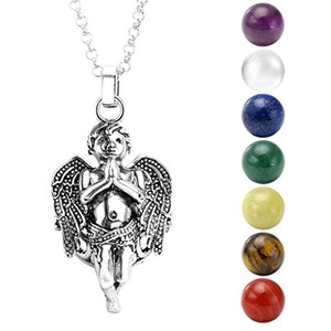 "SHIP BY USPS:  Hollow Flower Locket Pendant With Natural 7 Chakras 16mm Ball Stones Reiki Healing Energy Beads 28"" Necklace Set w/Box"