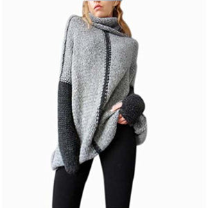 CEASIKERY Women Pullovers Cowl Neck Knit Sweater Top Plus Size