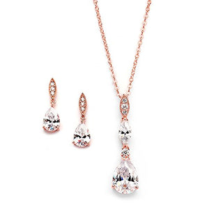 SHIP BY USPS: Mariell 14K Rose Gold Plated Teardrop CZ Wedding Necklace and Earrings Set for Bridal or Bridesmaids