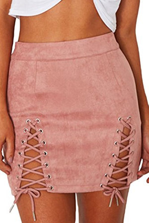 Womens Sexy High Waist Lace Up Bodycon Faux Suede Split Tight Mini Skirt