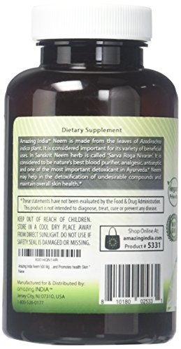 Amazing India Neem 500 Mg 120 Vegetarian Capsules * Promotes Blood Purification , Promotes healthy Immunity...